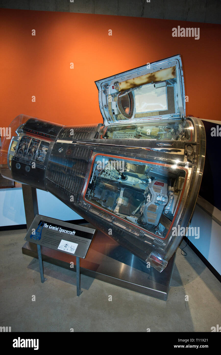 The Gemini 8 spacecraft flown by Apollo astronaut Neil Armstrong, in the Armstrong Air and Space Museum, Wapakoneta, Ohio. - Stock Image