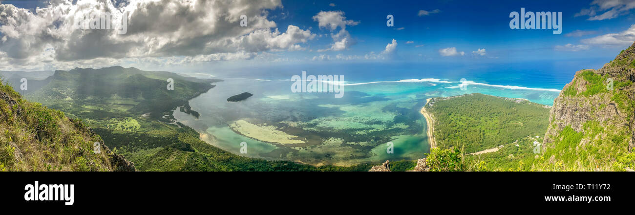 view on small island from le morne mountain on mauritius island Stock Photo