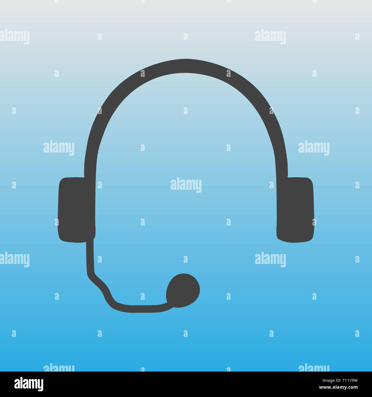 Icon Of Headphones On A Blue Background A Headset For Working With A Computer Telephone Communication Means Stock Vector Image Art Alamy