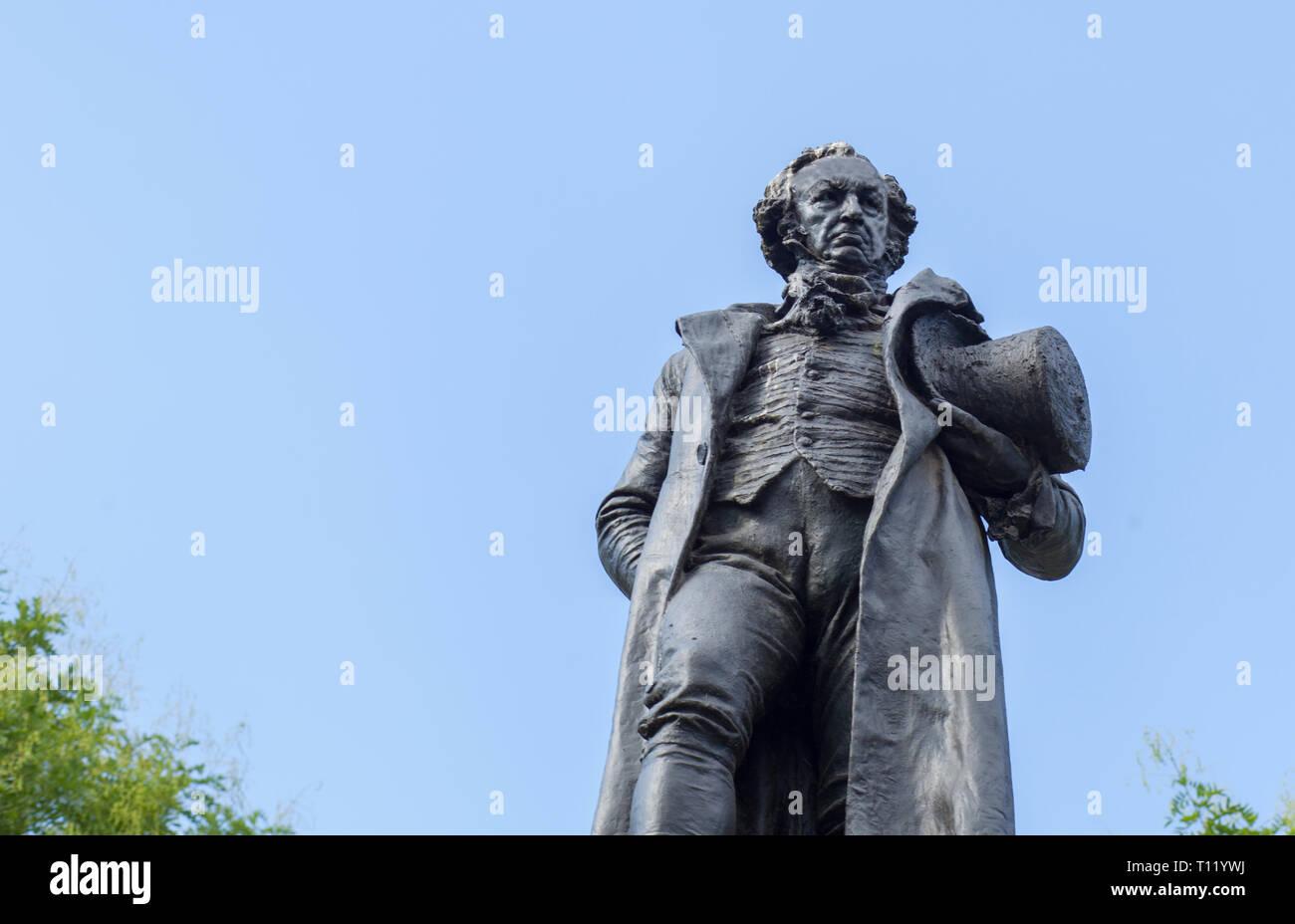 Madrid, Spain - Sept 12th, 2018: Bronze statue of Francisco de Goya, beside the Prado Museum, Madrid, Spain Stock Photo