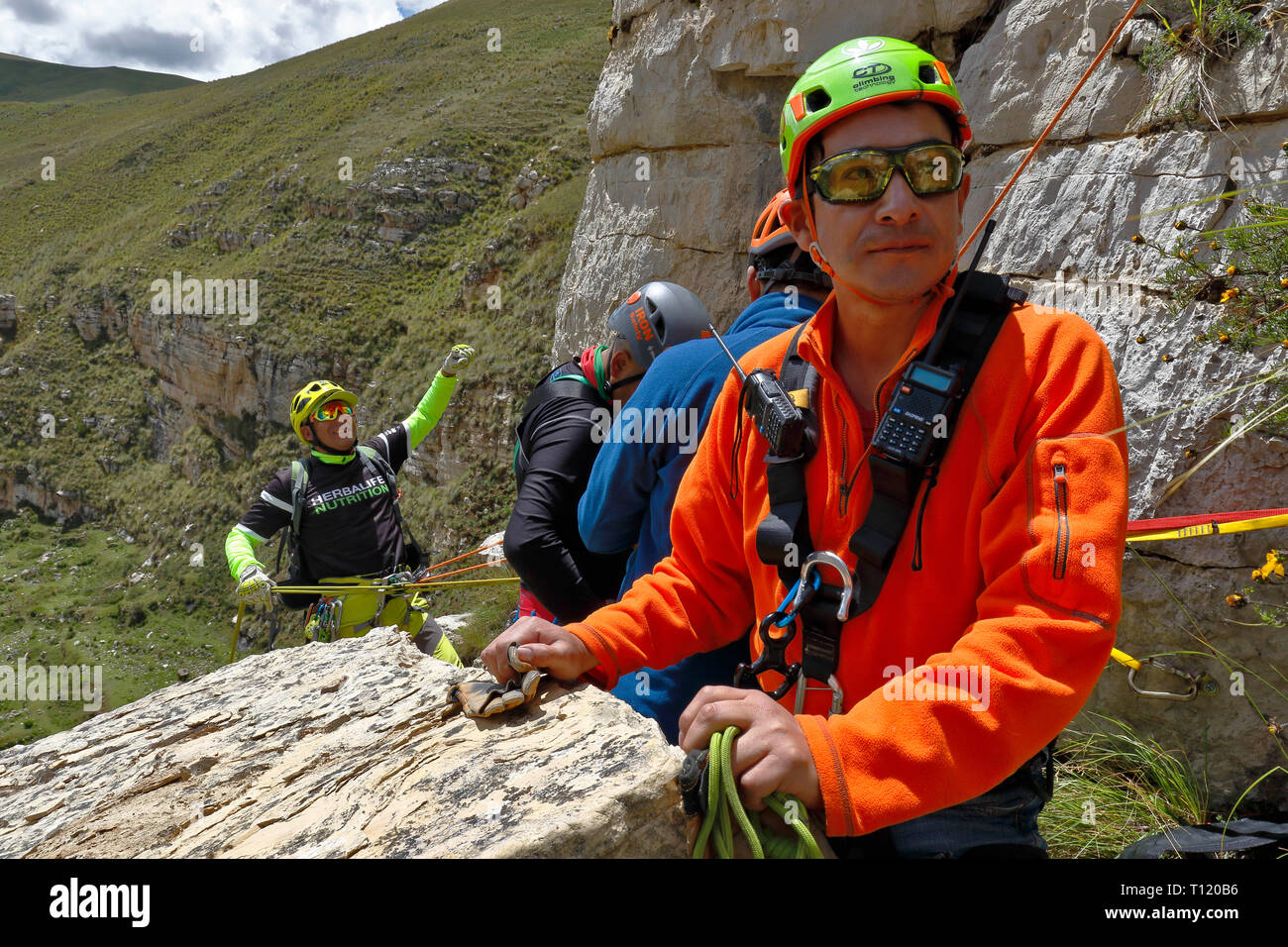 Canchayllo, Jauja - MARCH 17: Adventure sport, rappel practiced in the stone column of the imposing Shucto canyon (twisted) is a geological formation  - Stock Image