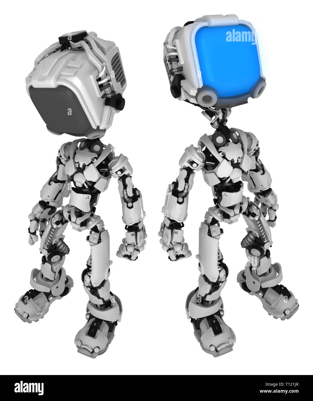 Screen robot figure character poses activating, 3d illustration, vertical, isolated - Stock Image