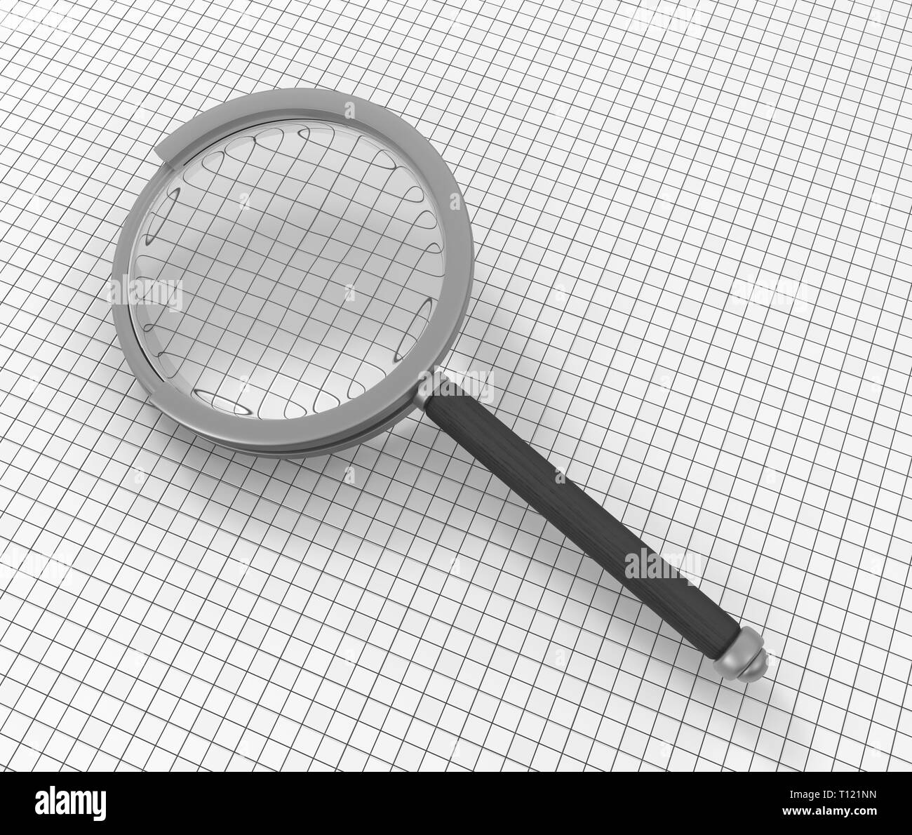 Magnifying glass search tool on paper, 3d illustration, horizontal - Stock Image