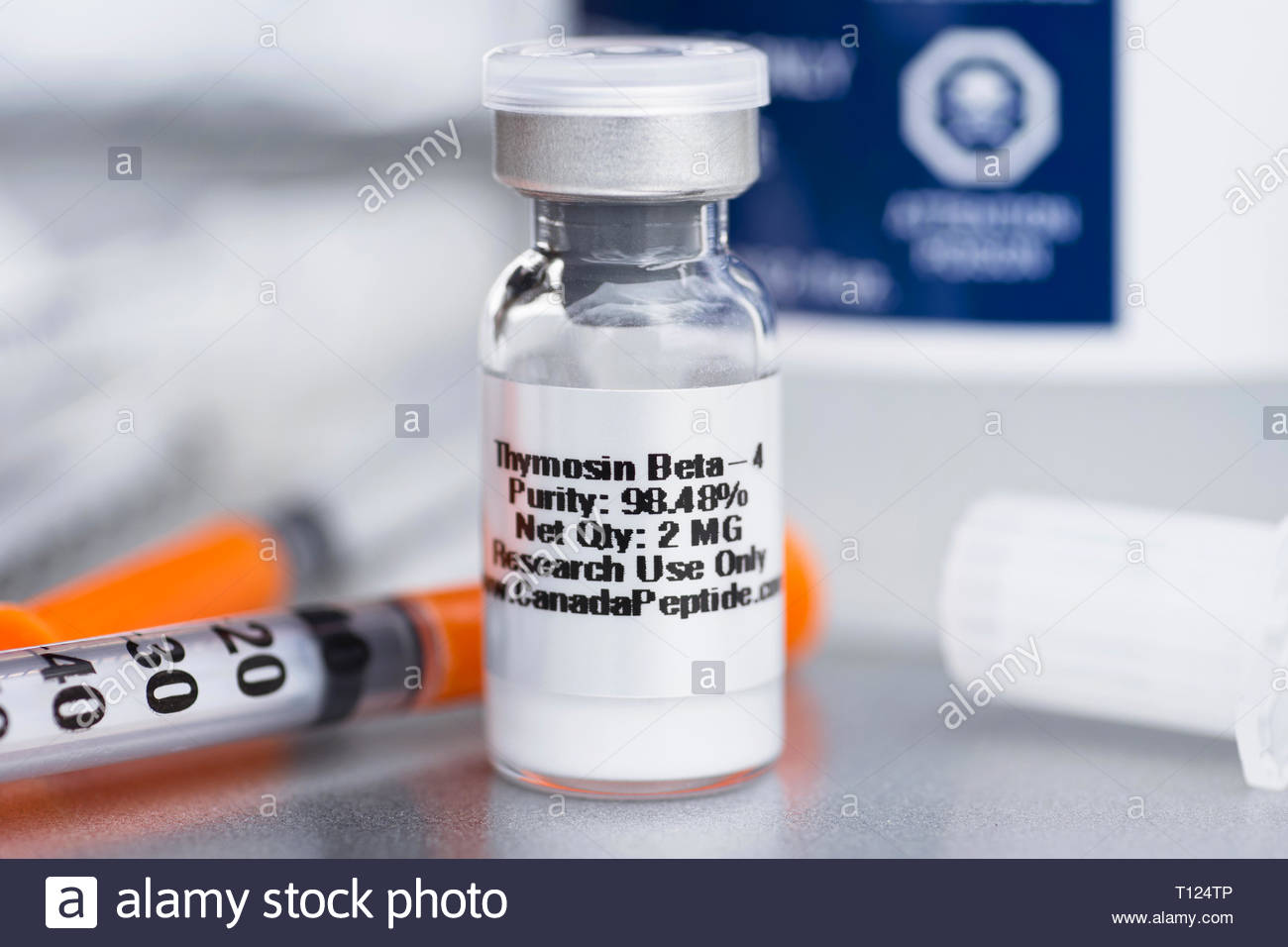 Thymosin Beta 4, TB-500 Peptide, Peptides Vial - Stock Image