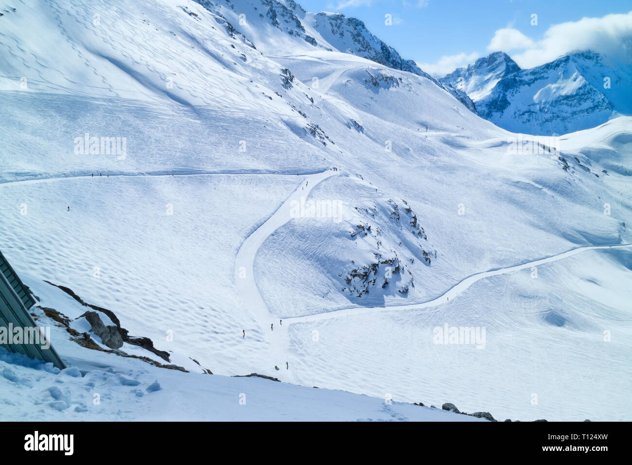 Snowy skiing slopes in French Alps , winter sports scenery . - Stock Image