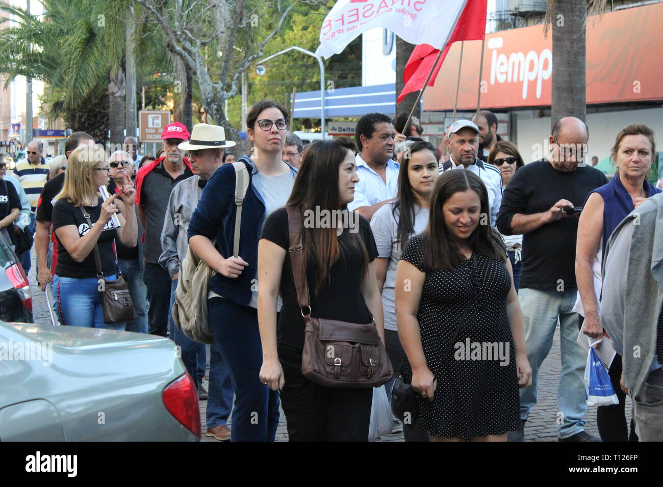 Brazilians march on the street in protest against social security reform - Stock Image