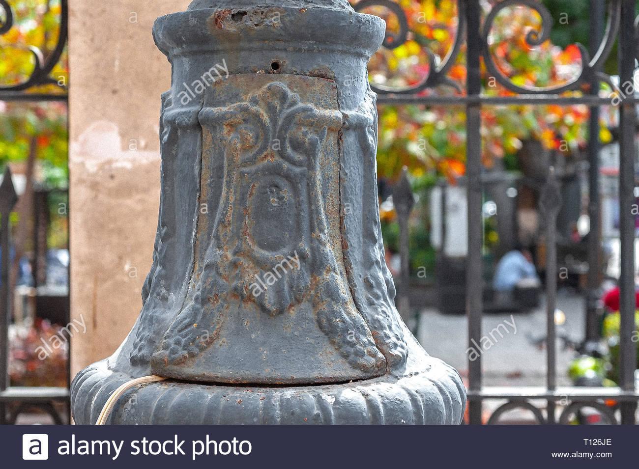 Bottom section of a light post at a church in Mexico - Stock Image