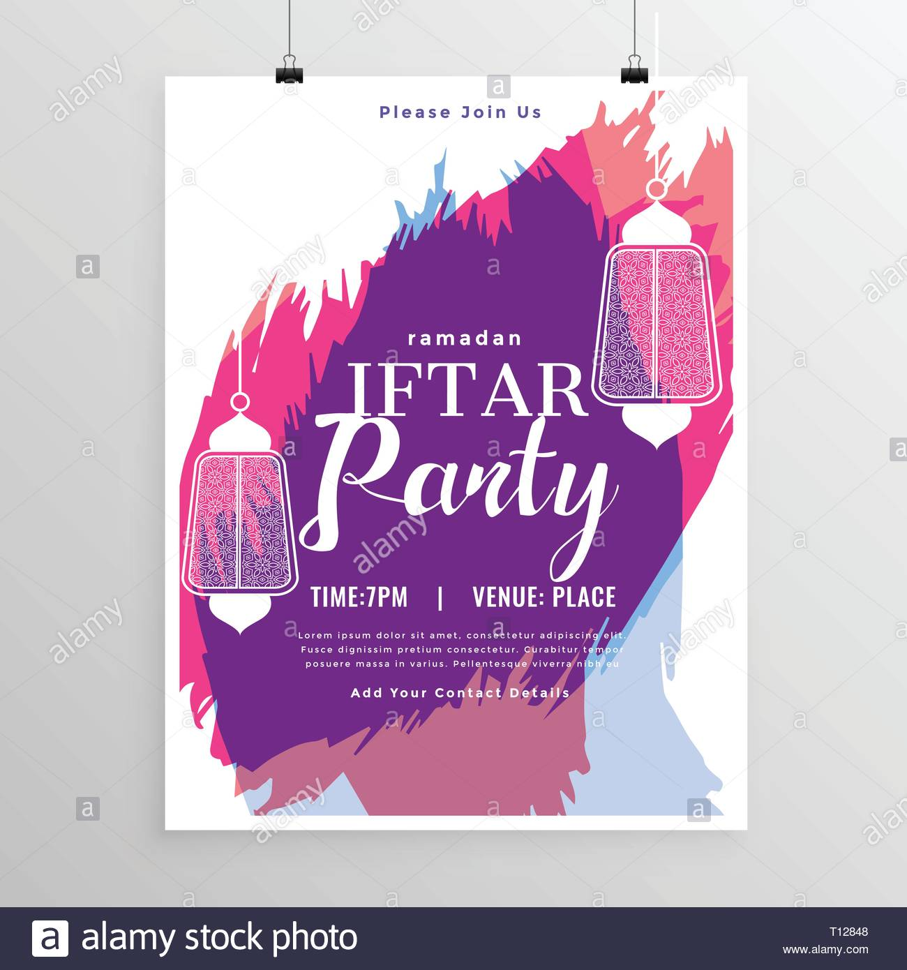 Abstract Iftar Party Invitation Template Stock Vector Art