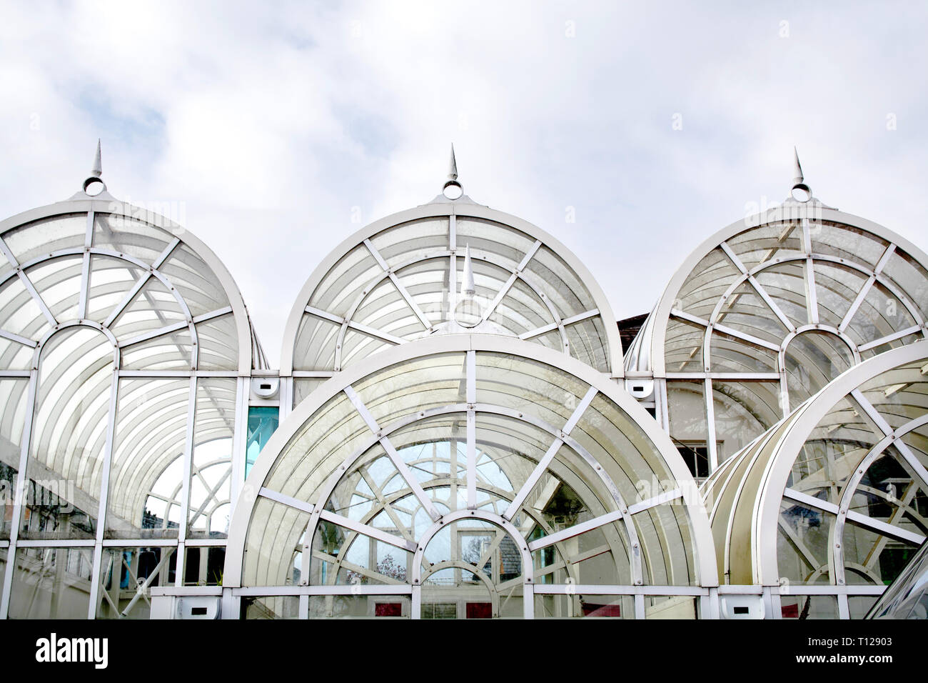 Detail of the Victorian glass dome roof of the entrance of Birmingham's Botanical Garden (UK) Stock Photo