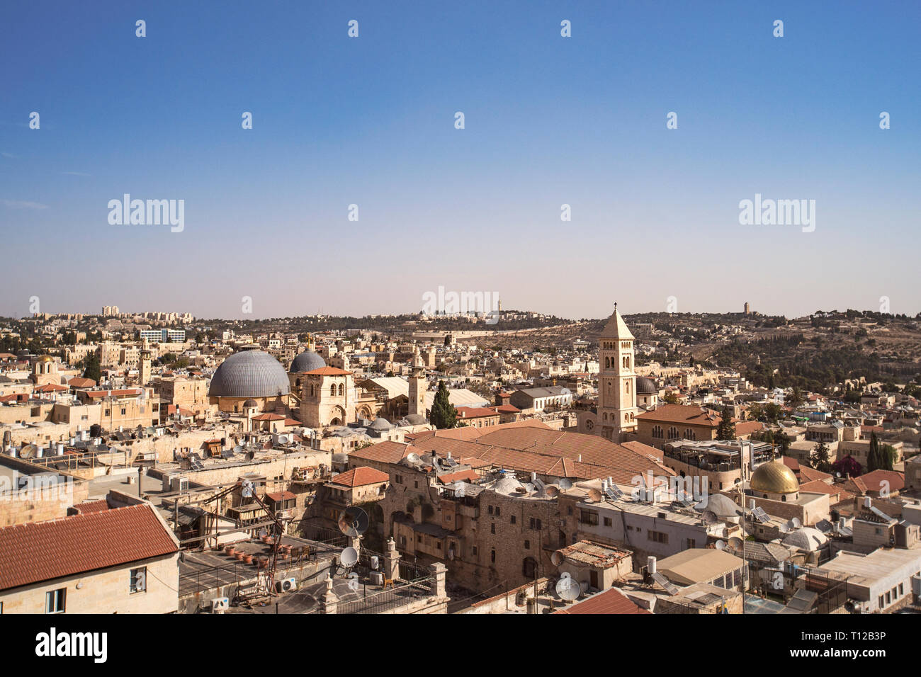 Israel landscape attractions. Jerusalem view of the old town and new city. View from the top of the tower of David. Ancient buildings, Christian, Jewi - Stock Image