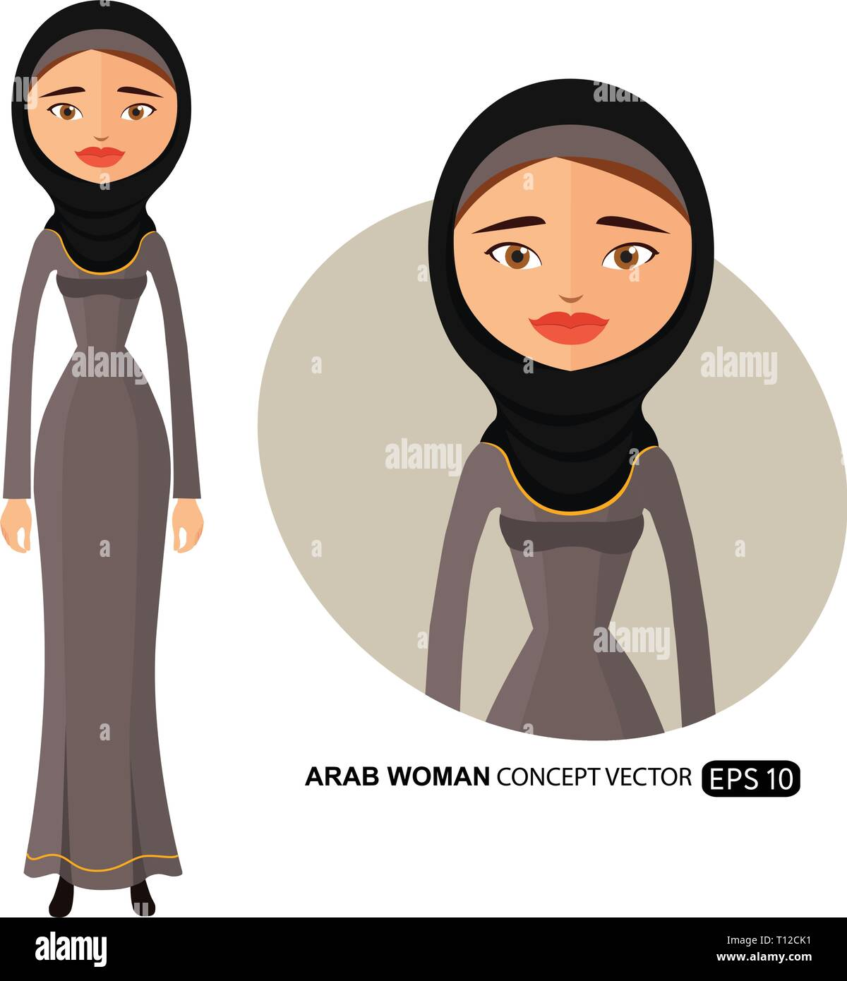 Arab business woman in a black hijab flat cartoon vector illustration isolated on white eps 10 - Stock Vector
