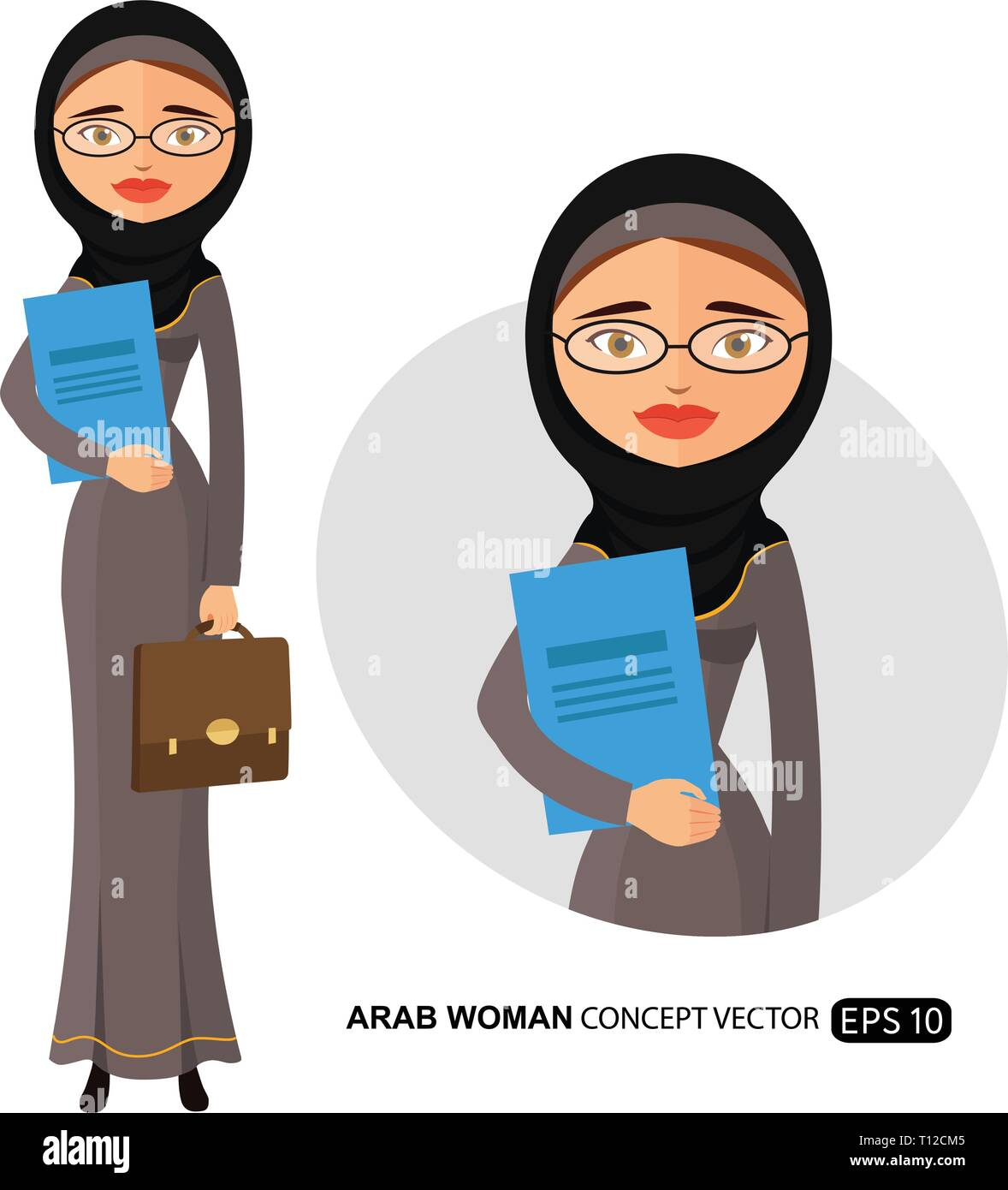 Arab business woman with glasses office worker is ready to work with spectacle woman secretary vector flat cartoon illustration eps 10 - Stock Vector
