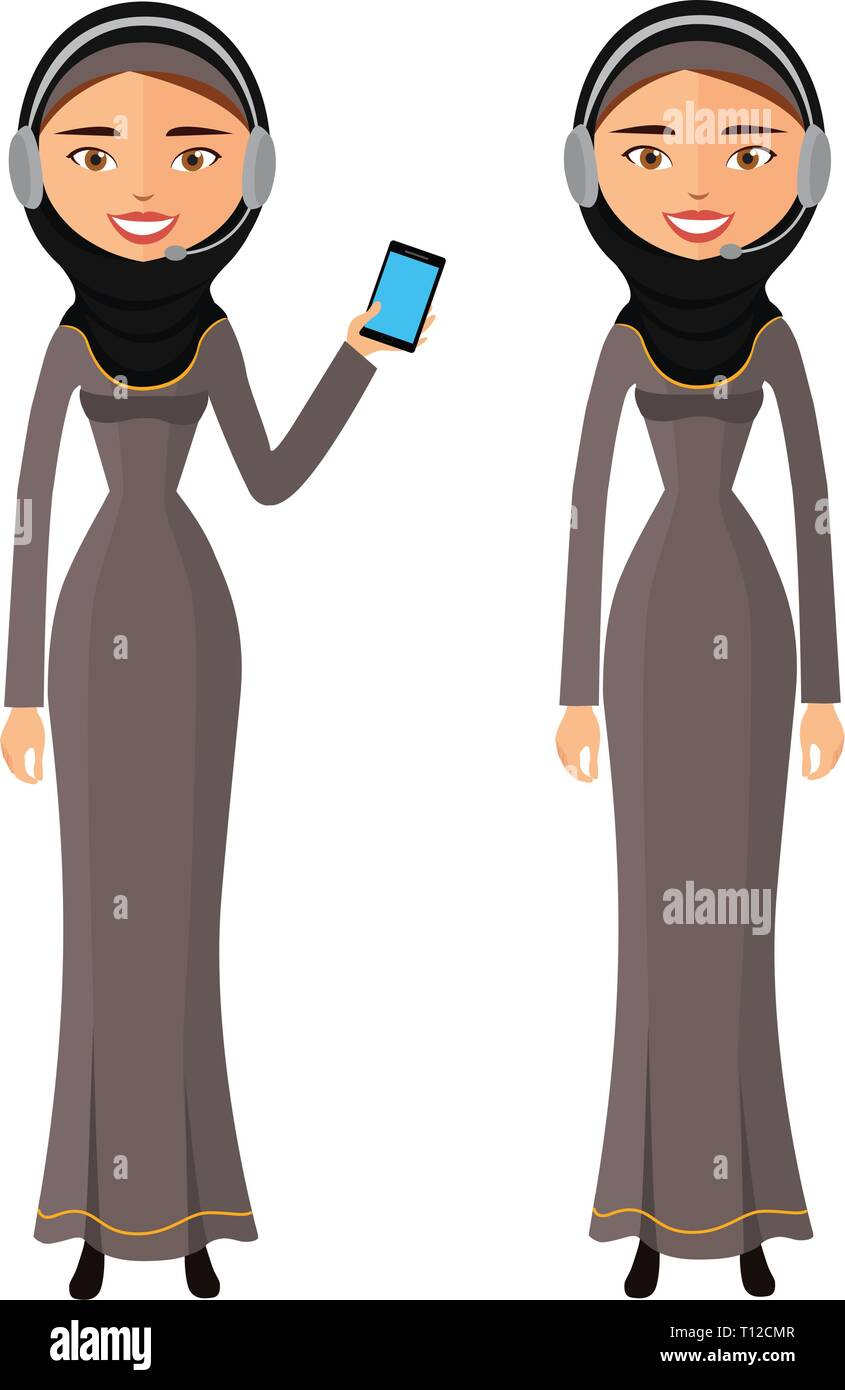 Arab happy woman talking on the mobile phone vector flat isolated on white eps 10 - Stock Vector