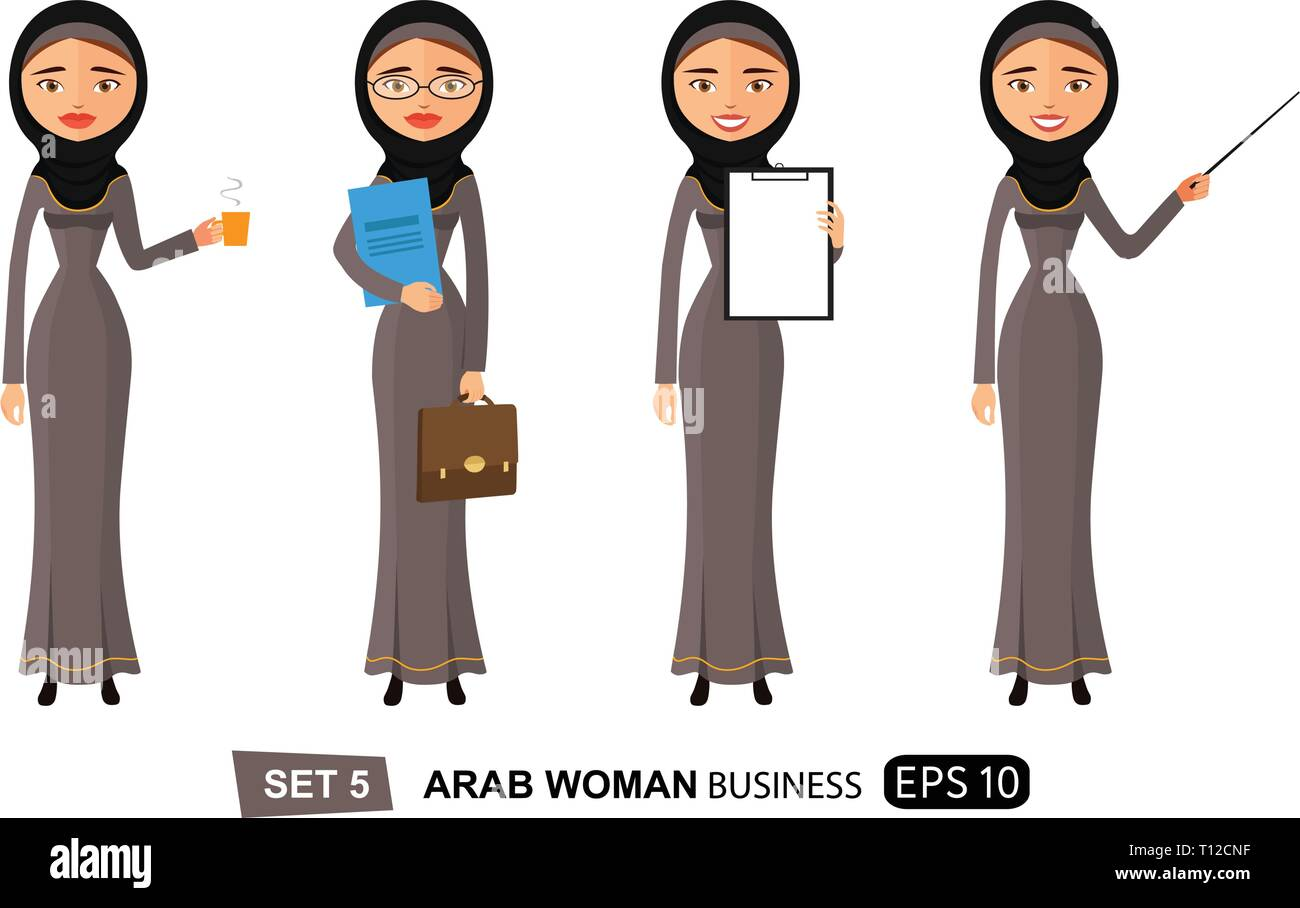 Arab woman presenting something get an idea isolated on white flat vector cartoon eps 10 - Stock Vector