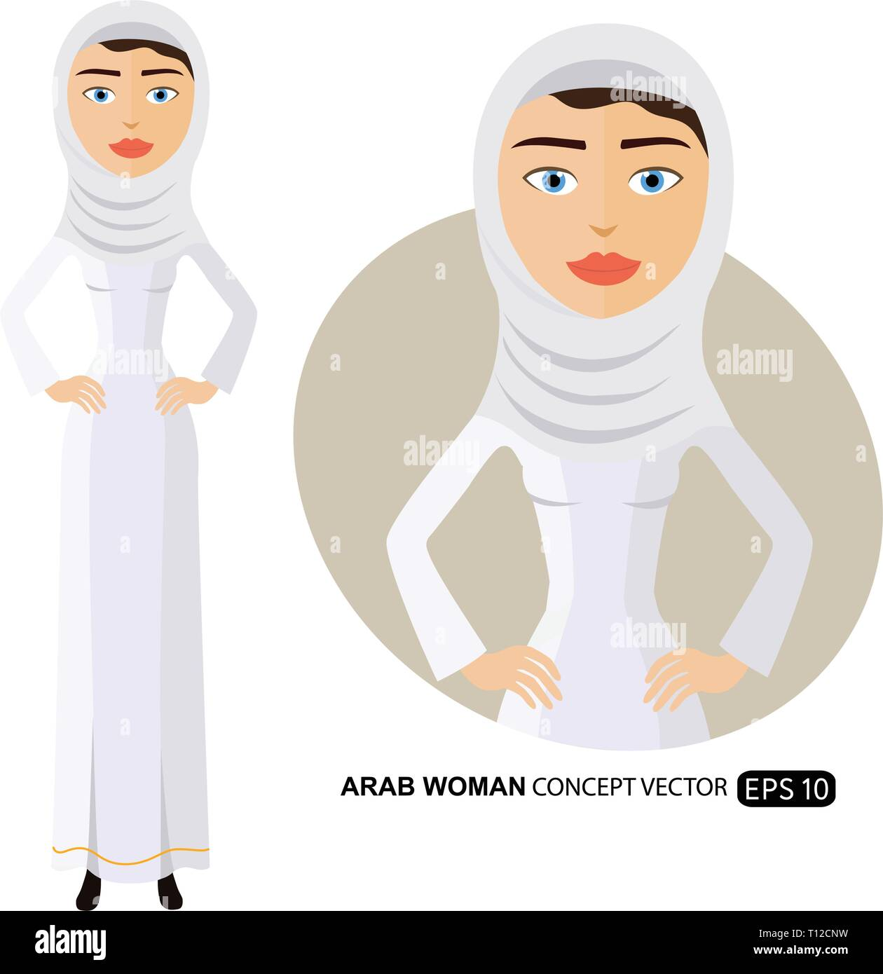 Arab business woman in a white hijab flat cartoon vector illustration isolated on white eps 10 - Stock Vector