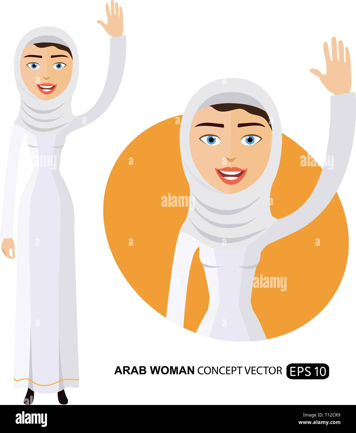 Arab woman waving her hand cartoon vector illustration isolated on white eps 10 - Stock Image
