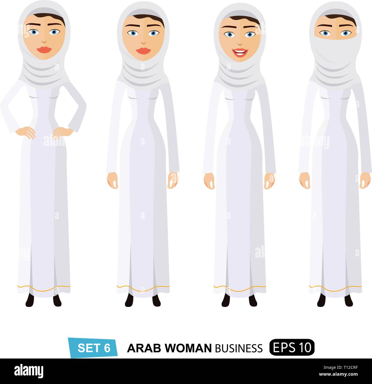 Arab business woman in a white hijab with natural curly hair flat cartoon vector illustration isolated on white eps 10 - Stock Vector