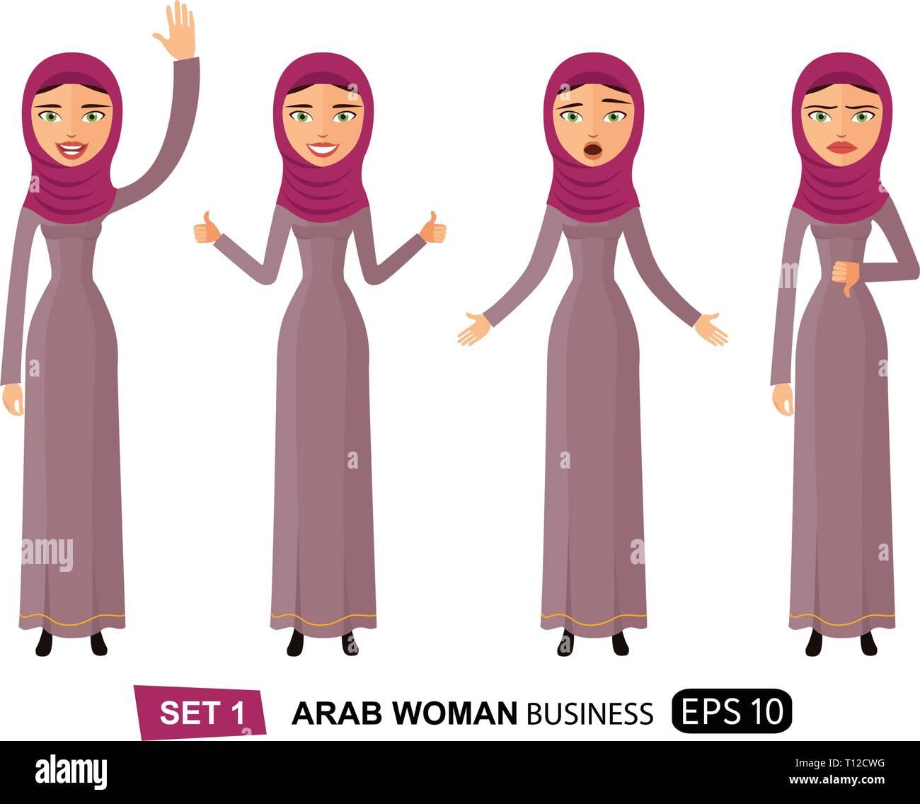 Set of emotions arab business woman waving hand goodbye cartoon vector eps 10 - Stock Vector