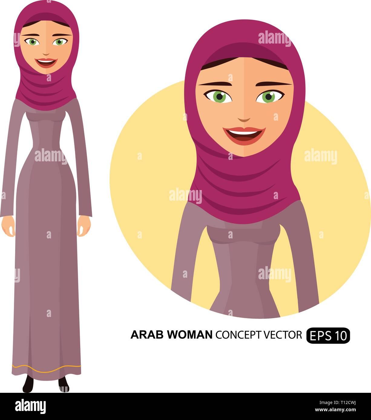 Arab woman happy character cartoon flat vector isolated on white eps 10 - Stock Vector