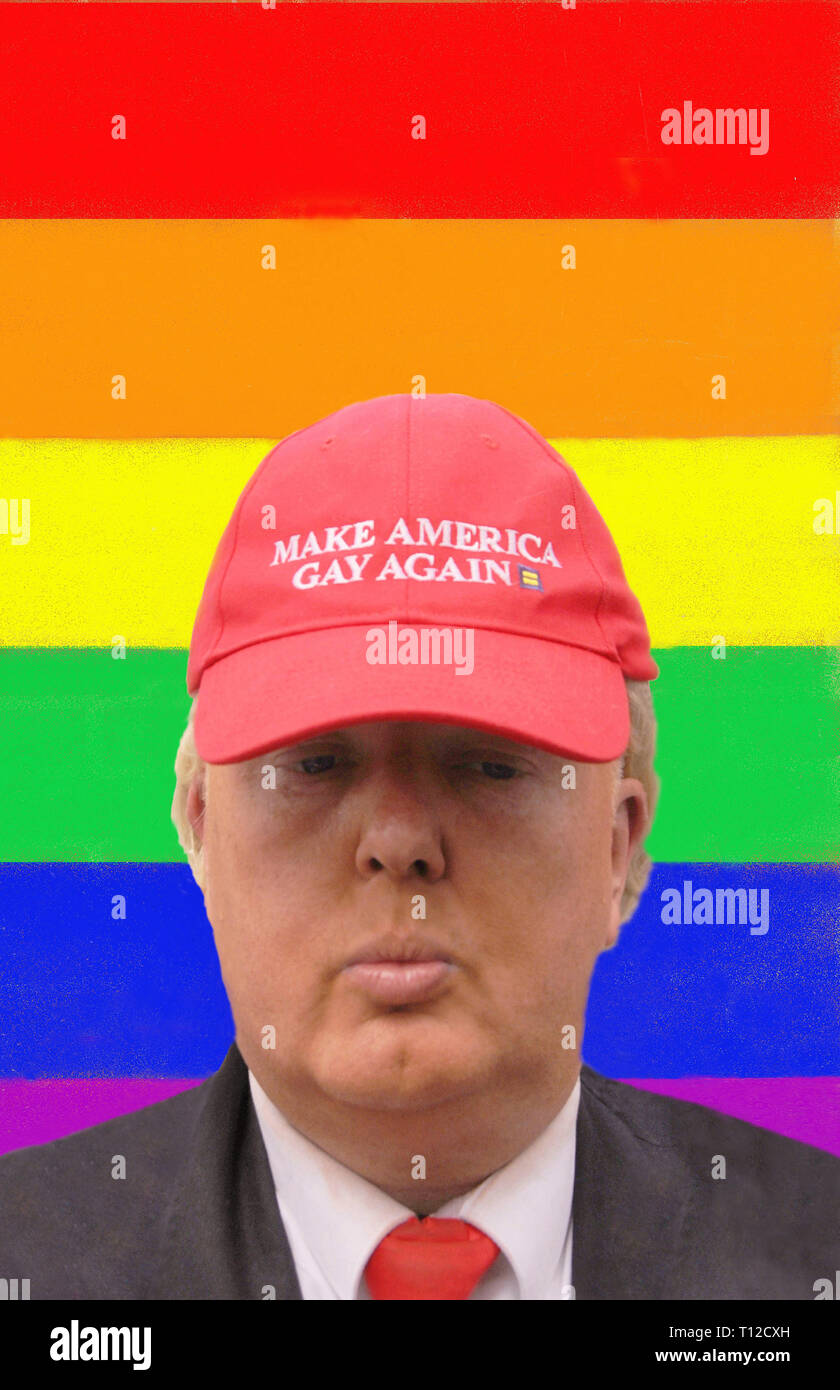 Donald trump lookalike in front of LGBT rainbow flag. - Stock Image