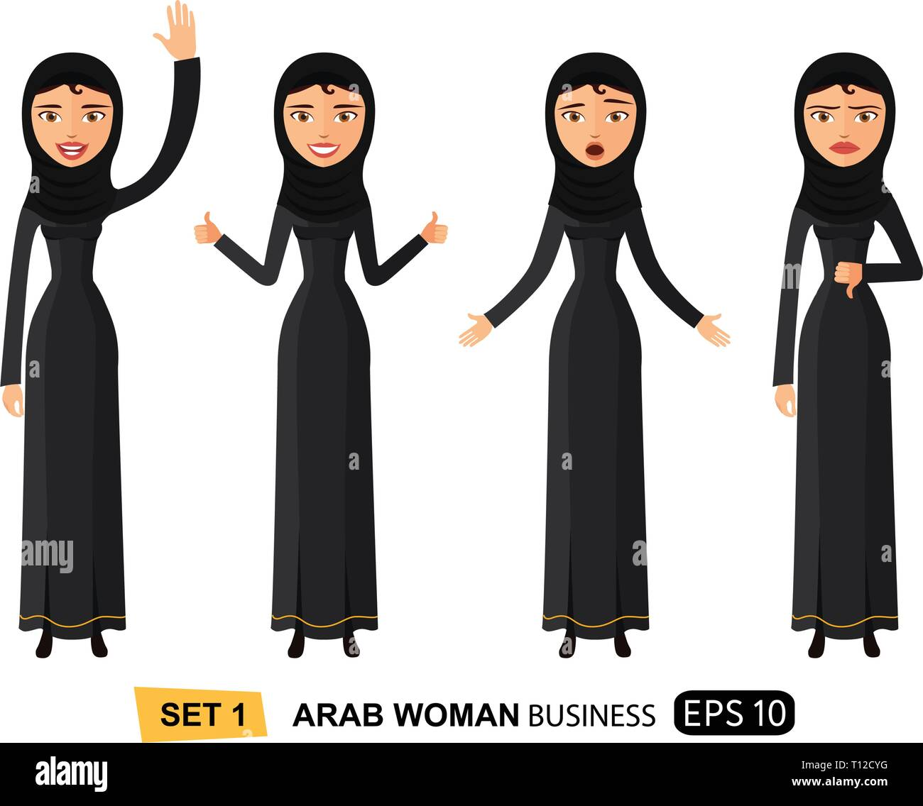 Emotions arab business women waving hand happy goodbye cartoon vector isolated on white eps 10 - Stock Vector