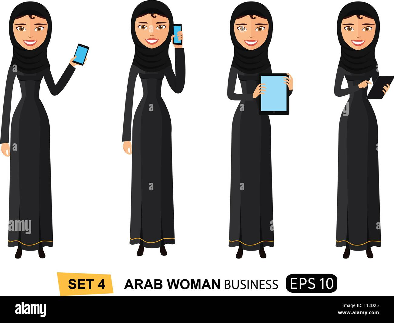 Arab business woman standing with tablet mobile phone concept flat vector isolated on white eps 10 - Stock Vector