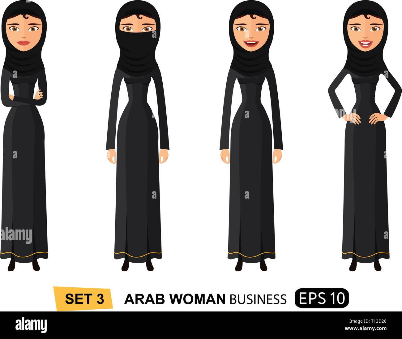 Arab business woman in a hijab with natural curly hair flat cartoon vector illustration isolated on white eps 10 - Stock Vector