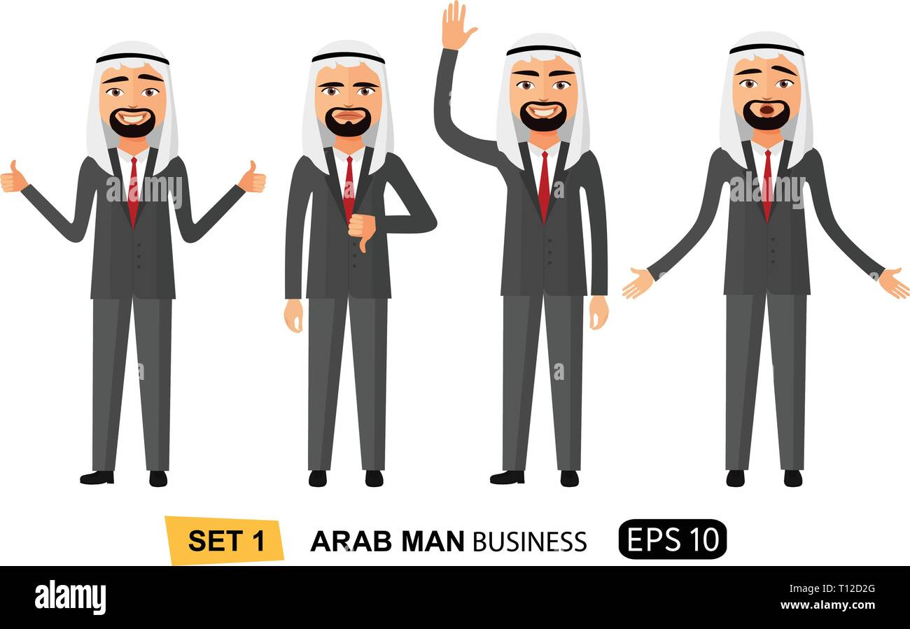 Set of emotion happy arab business man showing thumbs up cartoon vector isolated on white eps 10 - Stock Vector