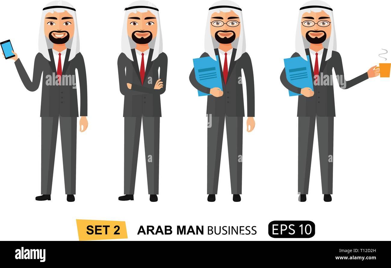 Arab business men set flat cartoon vector illustration isolated on white eps 10 - Stock Vector