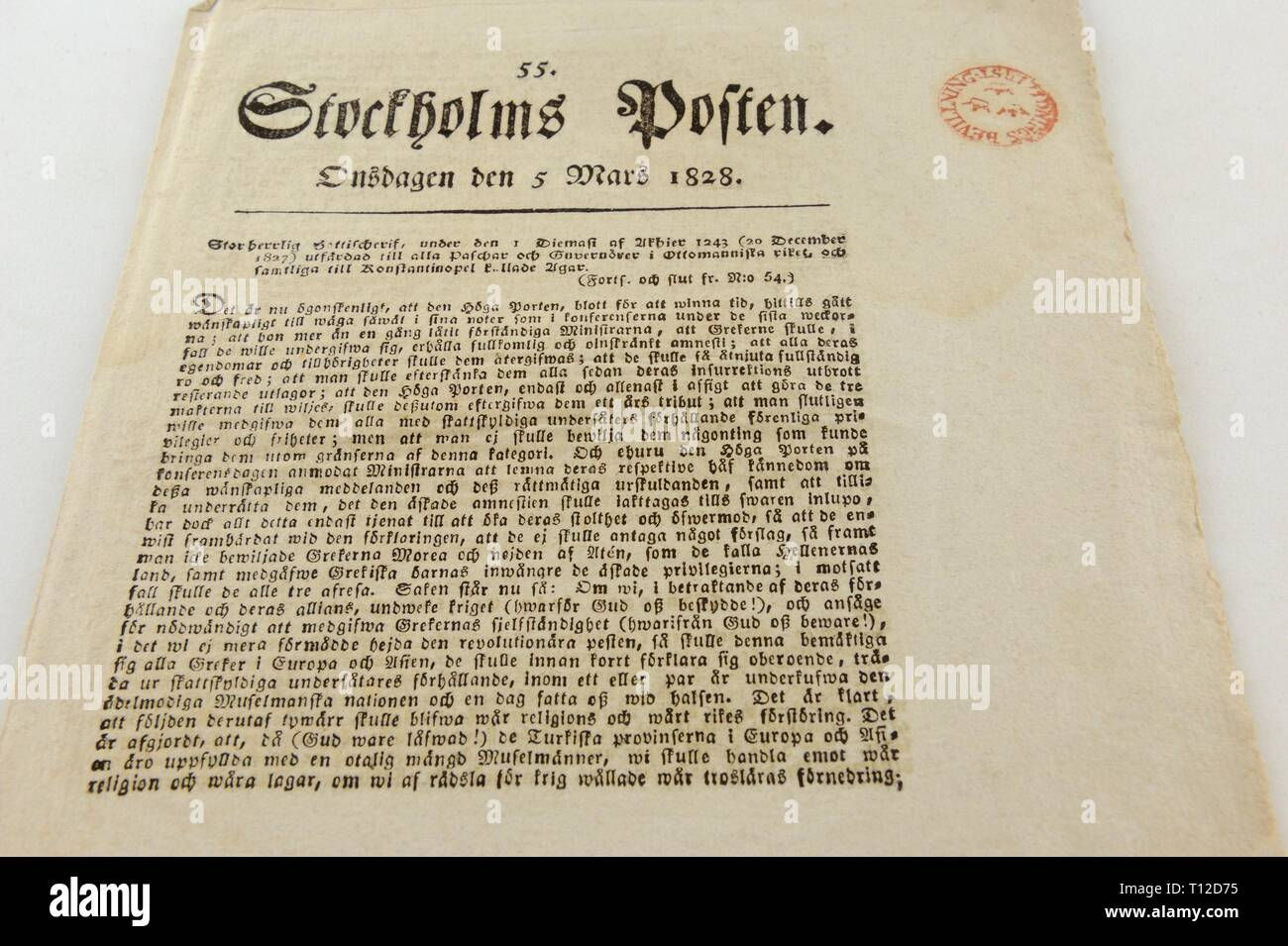 Stockholm Posten was a Swedish newspaper published in 1778 -1833. It became the leading newspaper in Sweden. At this time period when papers seldom h - Stock Image