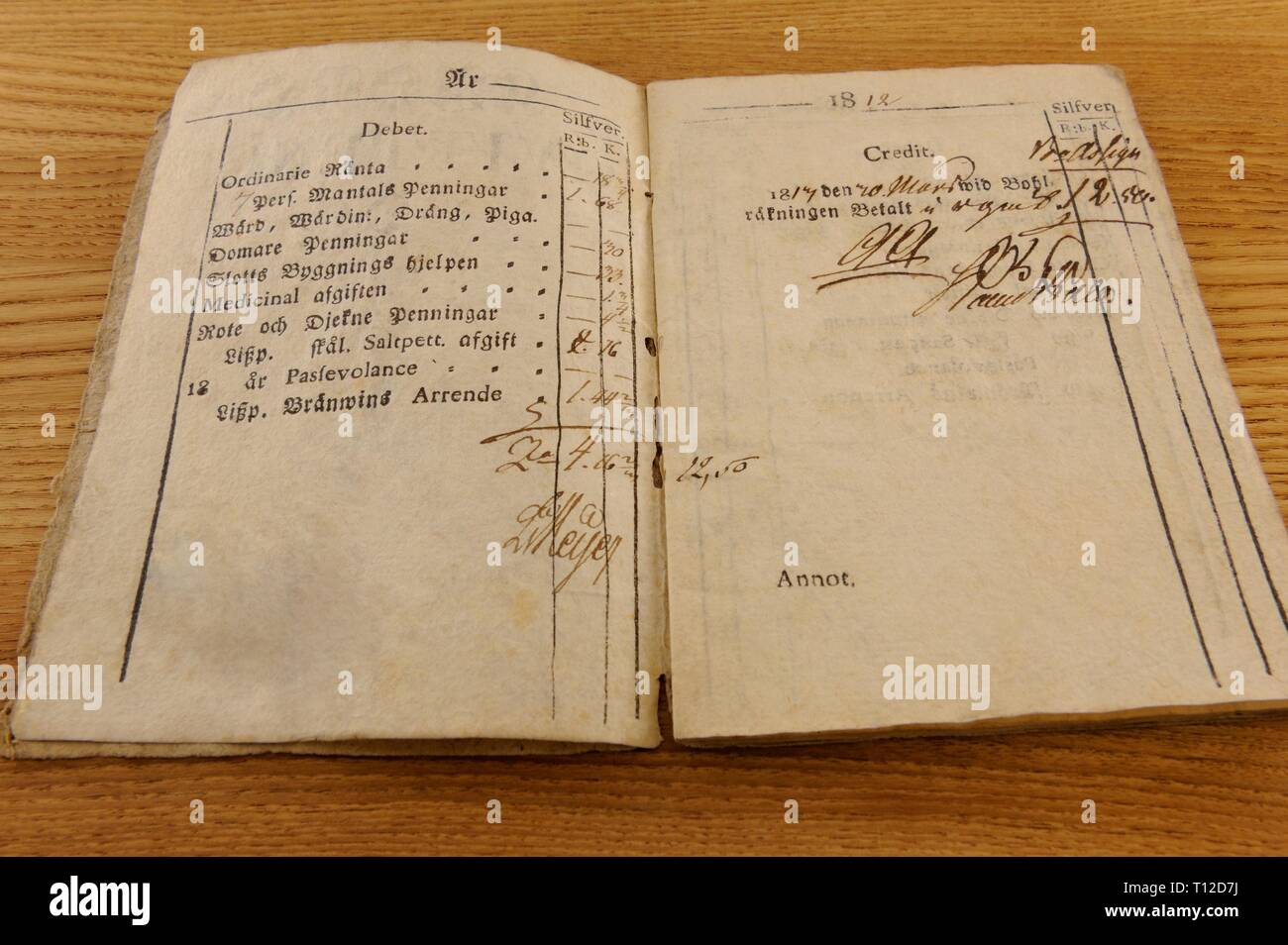 A Qvittence bok, a farmer taxation book from the year 1812. The taxes were collected for a land owning 1.68 Rb, a Justice tax 0,30 Rb,   a castle buil - Stock Image