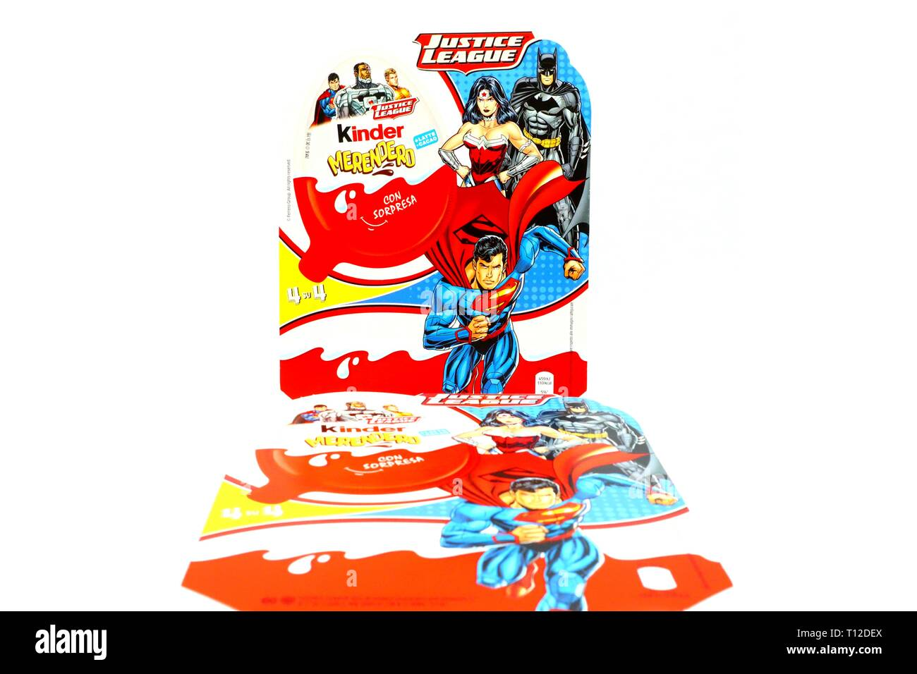 Kinder JOY Merendero JUSTICE LEAGUE Chocolate Eggs. Kinder is a brand of  Ferrero, Justice League is a Trademark of DC Comic WB SHIELD WBEI - Stock Image