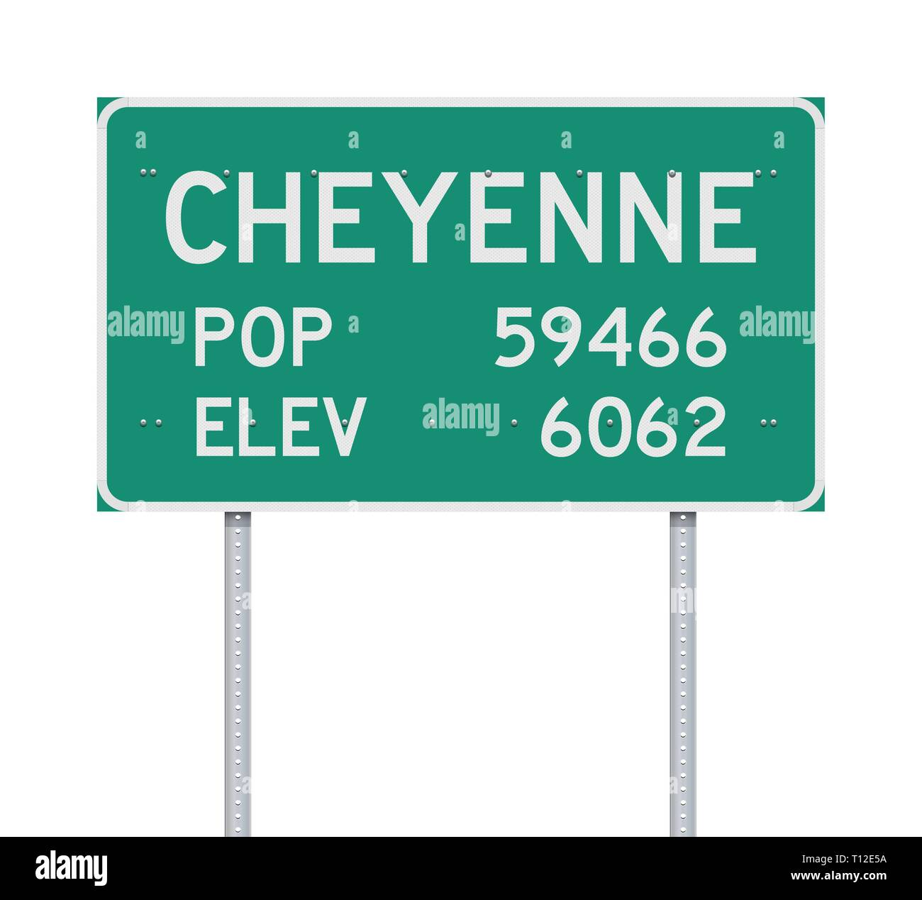 Vector illustration of the Cheyenne Population and Elevation green road sign - Stock Image