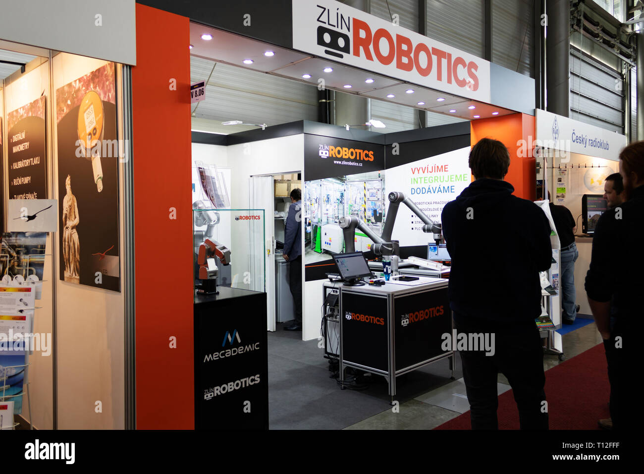 BRNO, CZECH REPUBLIC – March 20, 2019: Zlin Robotics exposition at 27th International Trade Fair Amper 2019 of technologies in Brno exhibition centre - Stock Image