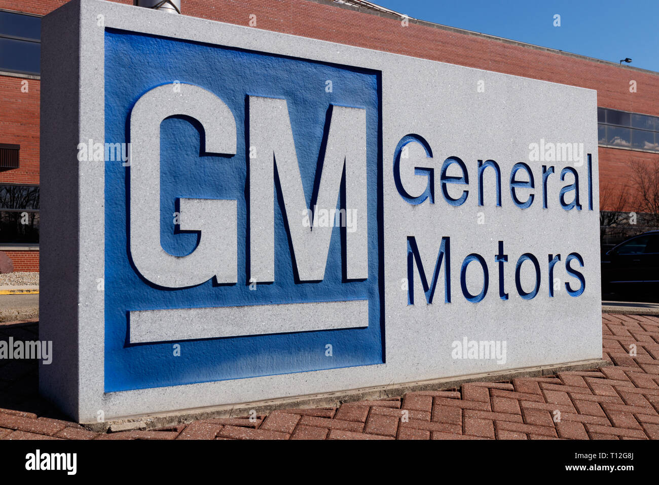 Marion - Circa March 2019: General Motors Logo and Signage at the Metal Fabricating Division. GM opened this plant in 1956 II - Stock Image
