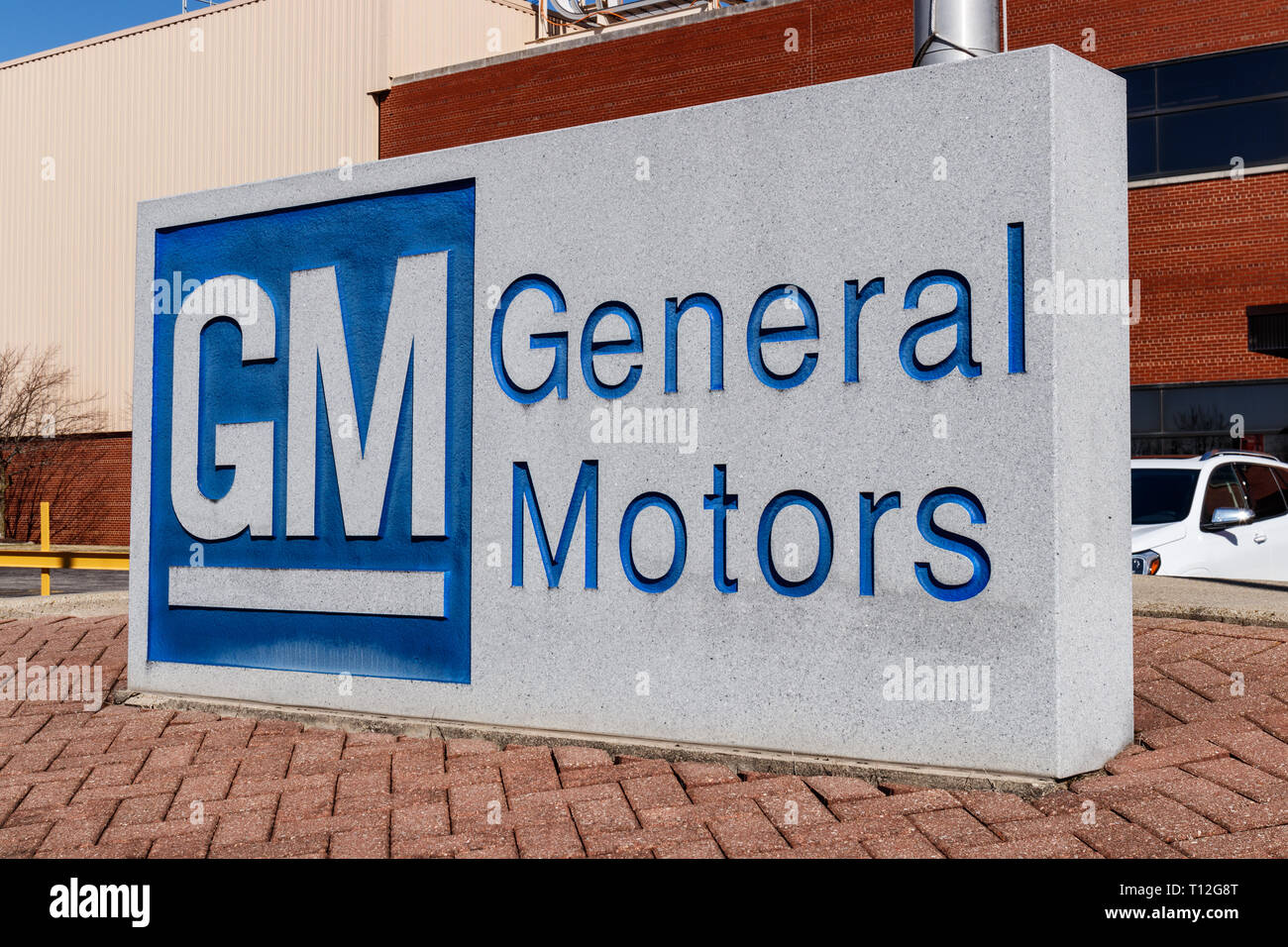 Marion - Circa March 2019: General Motors Logo and Signage at the Metal Fabricating Division. GM opened this plant in 1956 III - Stock Image