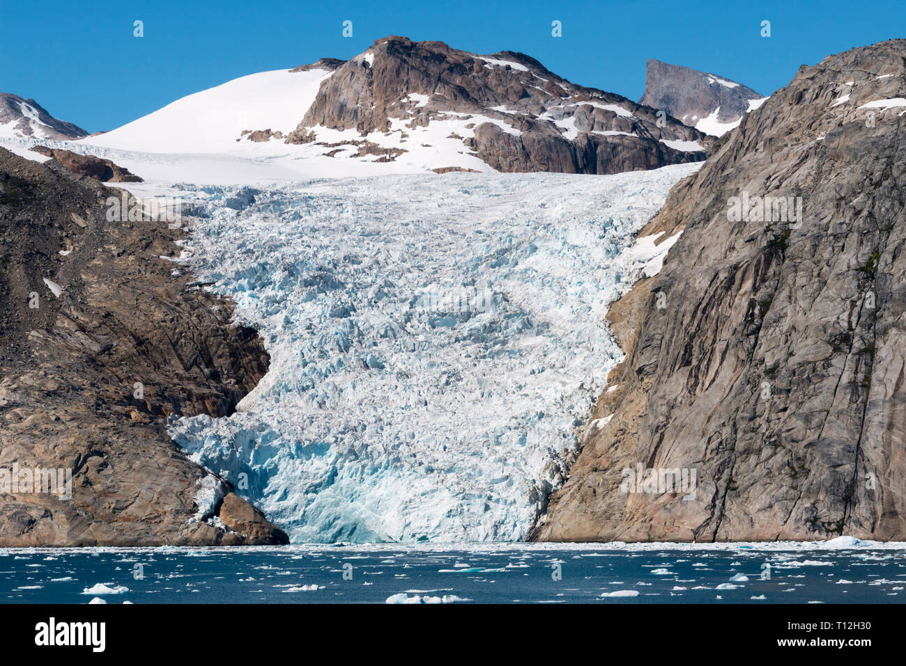 Glacier on island in Prins Christian Sund, Greenland - Stock Image