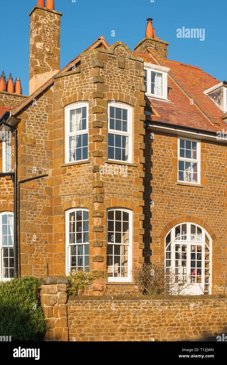 Carstone houses, Hunstanton, Norfolk, England, UK Stock Photo