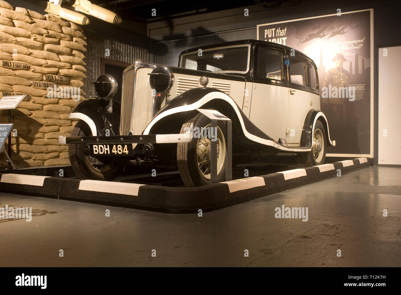 car adapted for blackout during world war II at Coventry transport museum - Stock Image