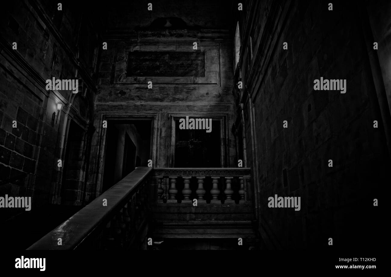 The Nightmare Mansion. A spooky black and white vision of the insides of a mansion during a nightmare. Stock Photo