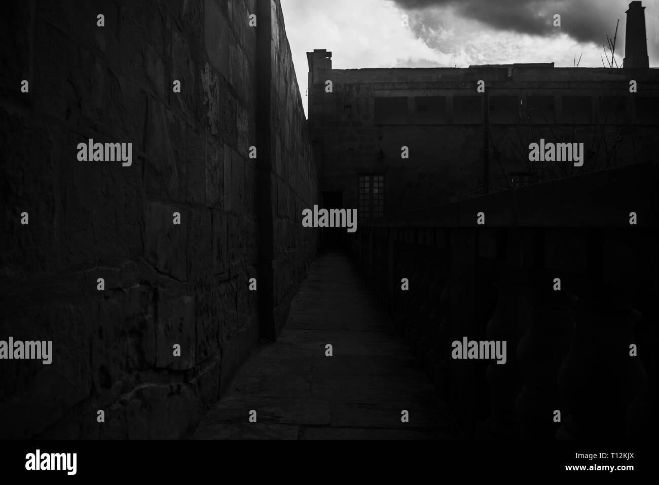 The Nightmare Bridge. A scary bridge in black and white. - Stock Image