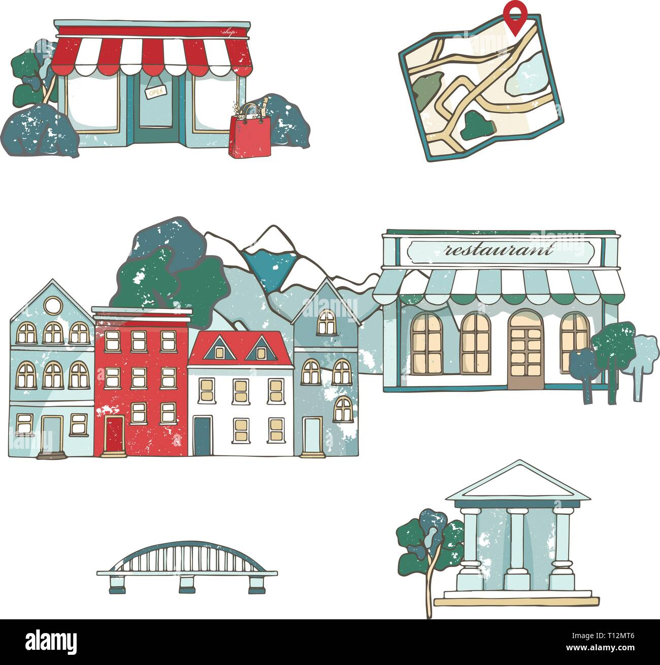 City places set with buildings in flat design. Cafe restaurant, music theater, house, Cathedral, barn, museum, mill, station, chaurch. Urban collectio - Stock Vector