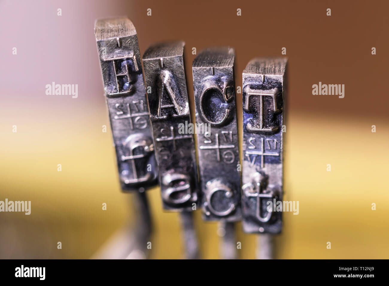 Macrophotography of typewriter hammers with FACT word Stock Photo
