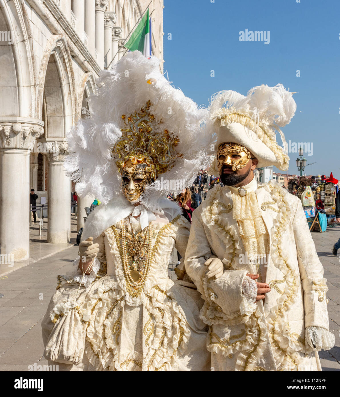 Italy, Venice, carnival, 2019, masked people roam the city