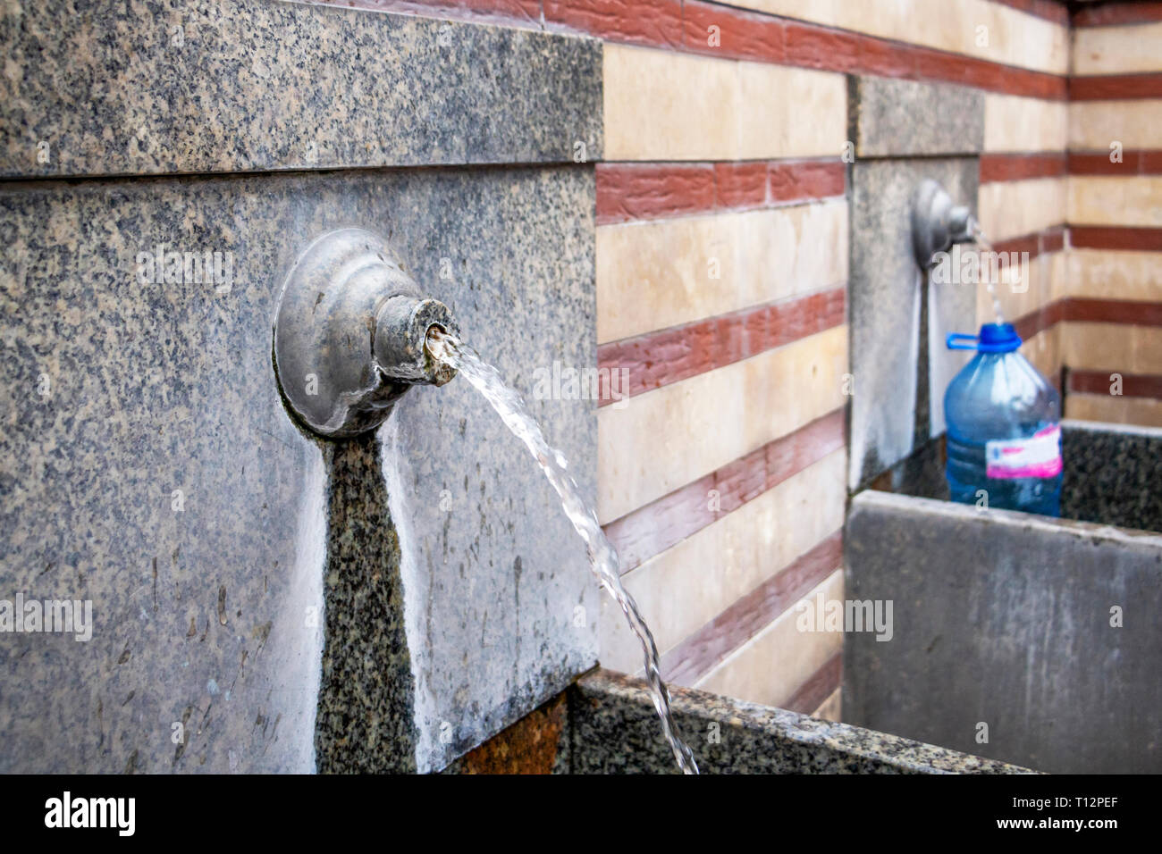 Mineral water taps next to the Central Market Hall and Central Mineral Bath in Sofia, Bulgaria Stock Photo
