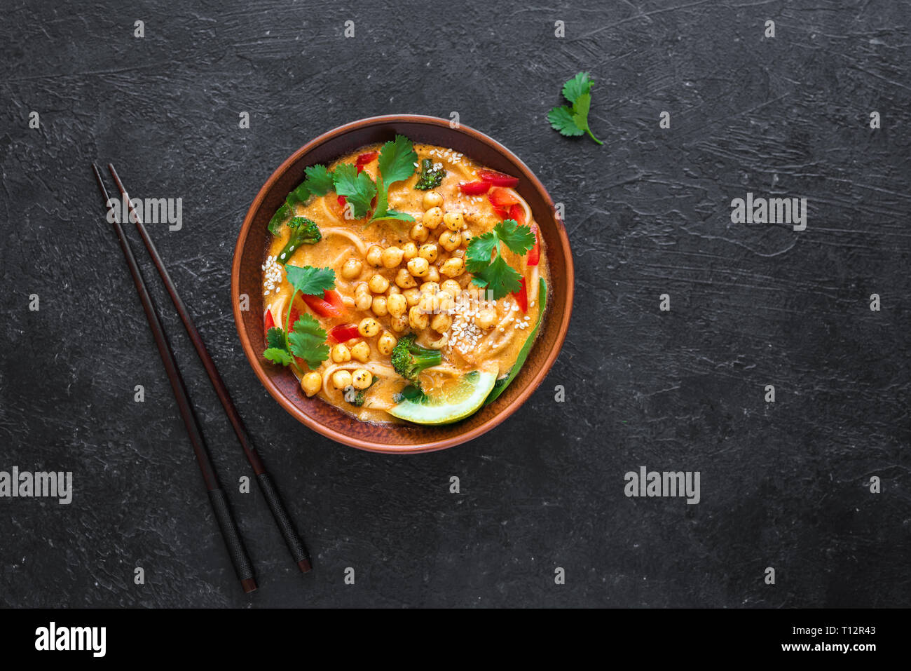 Laksa Soup Vegetable Noodle Laksa Soup On Black Background Top View Copy Space Asian Malaysian Vegan Vegetarian Food Stock Photo Alamy