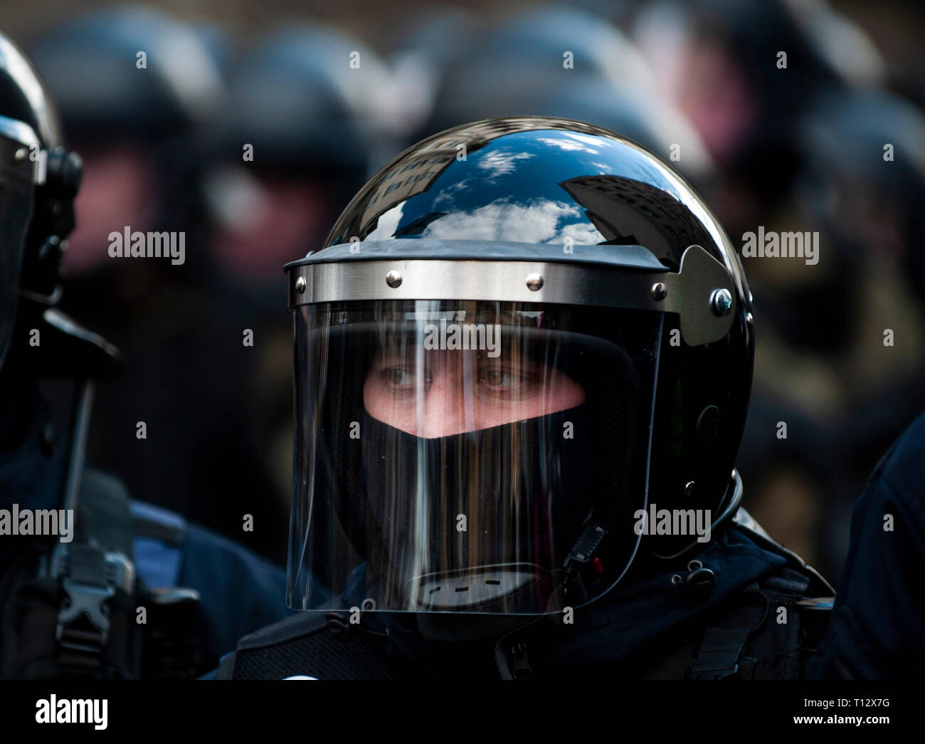A Ukrainian police officer in riot gear seen standing guard during the demonstration.  Protesters gathered in Maidan Square then marched to the Presidential Administration building to call on President Petro Poroshenko to bring corrupt governmental officials to justice. With the Ukrainian Elections being held at the end of March the political tensions run very high. Stock Photo