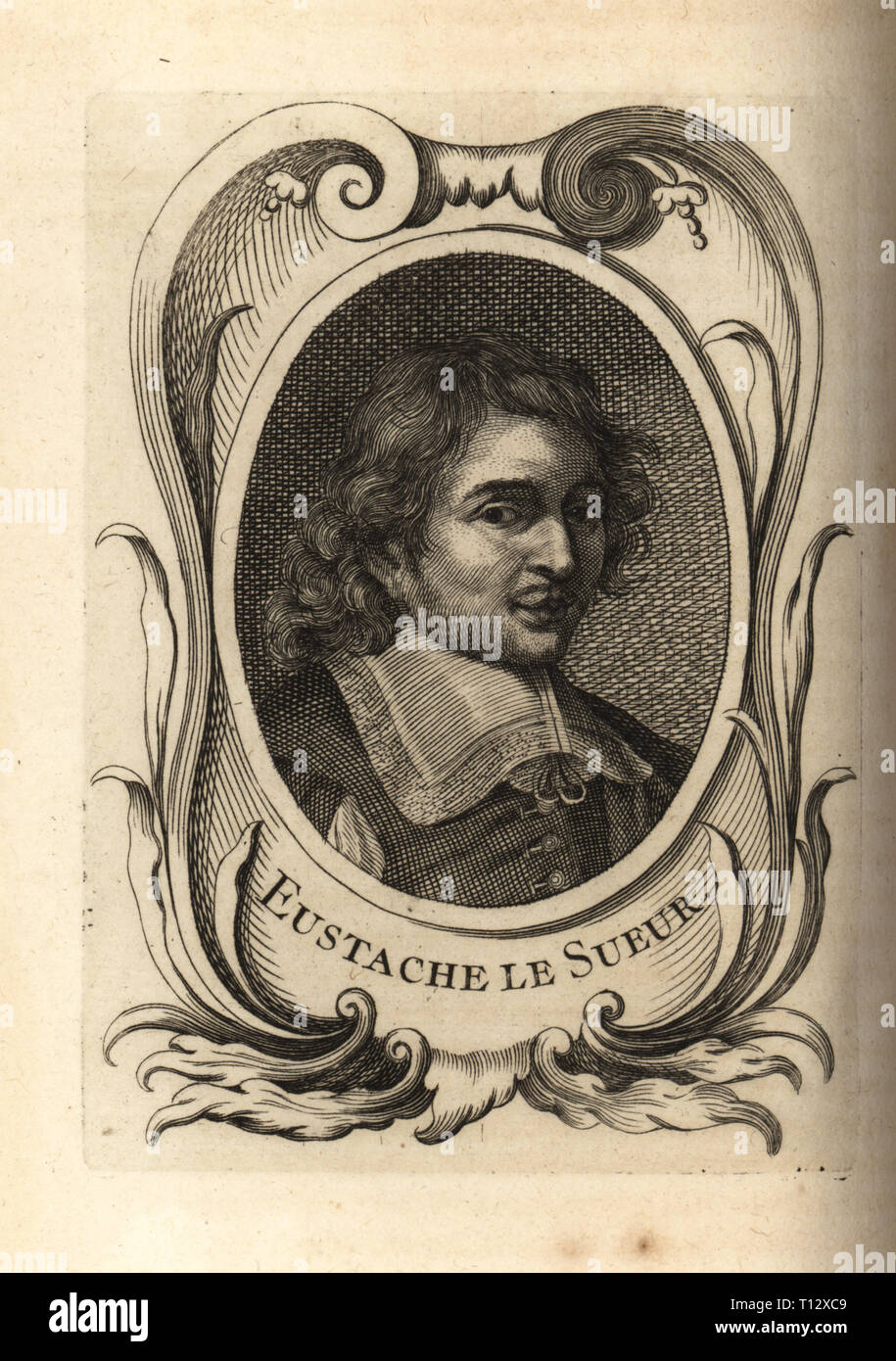 Portrait of Eustache le Sueur, French painter 1617-1655. Copperplate engraving from Antoine-Joseph Dezallier d'Argenville's Abrege de la vie des plus fameux peintres, Lives of the most Famous Artists, de Bure l'Aine, Paris, 1762. Stock Photo
