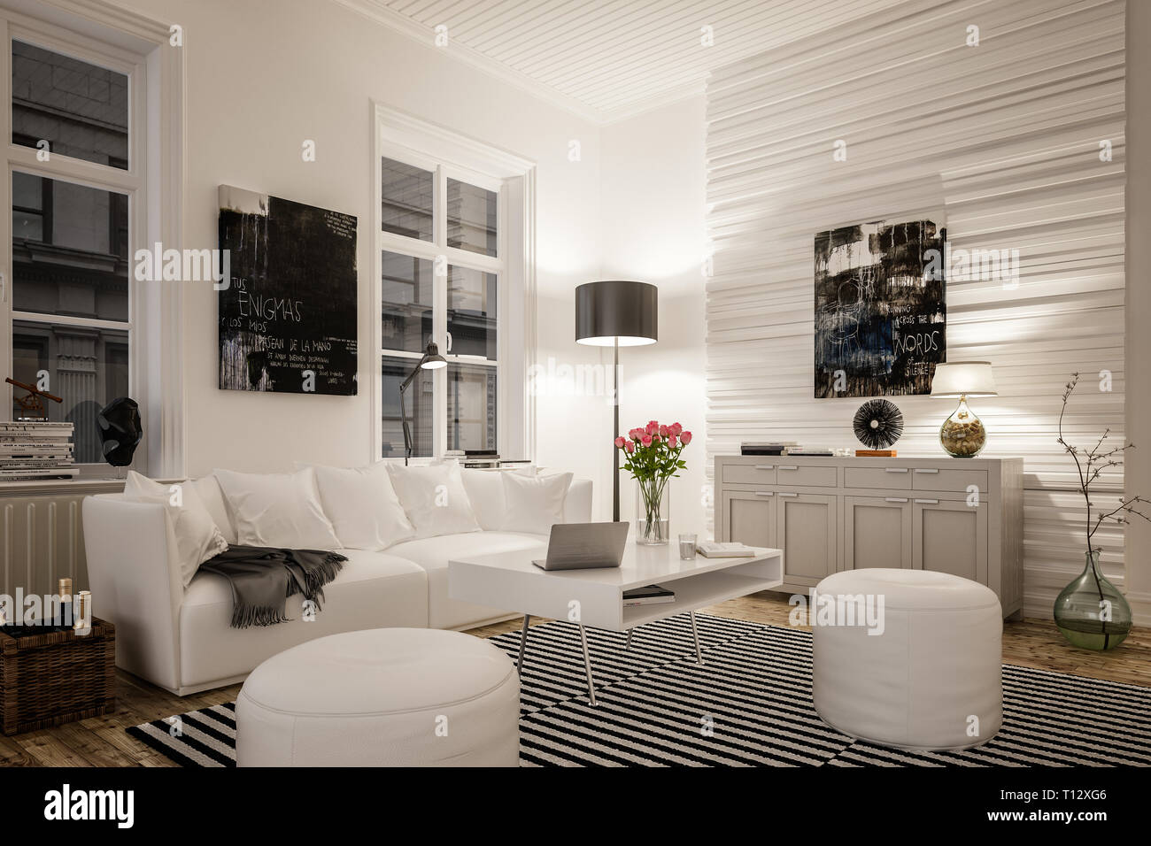 3D rendering of cozy living room with sofa or couch in old city ...