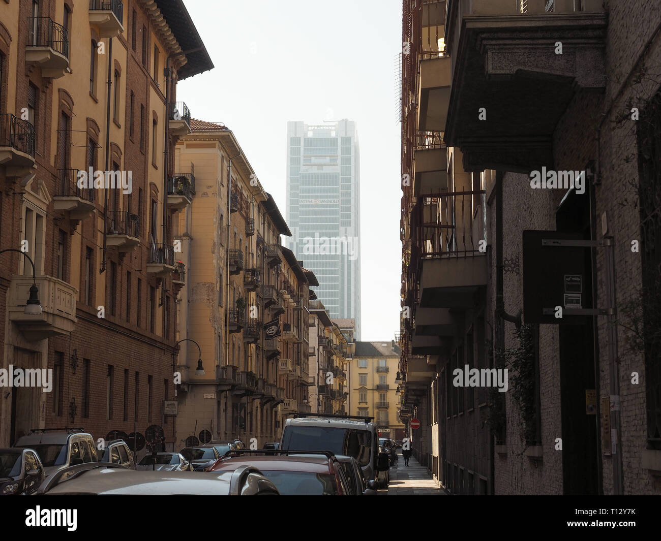 TURIN, ITALY - CIRCA FEBRUARY 2019: Intesa San Paolo headquarters skyscraper designed by Renzo Piano Stock Photo